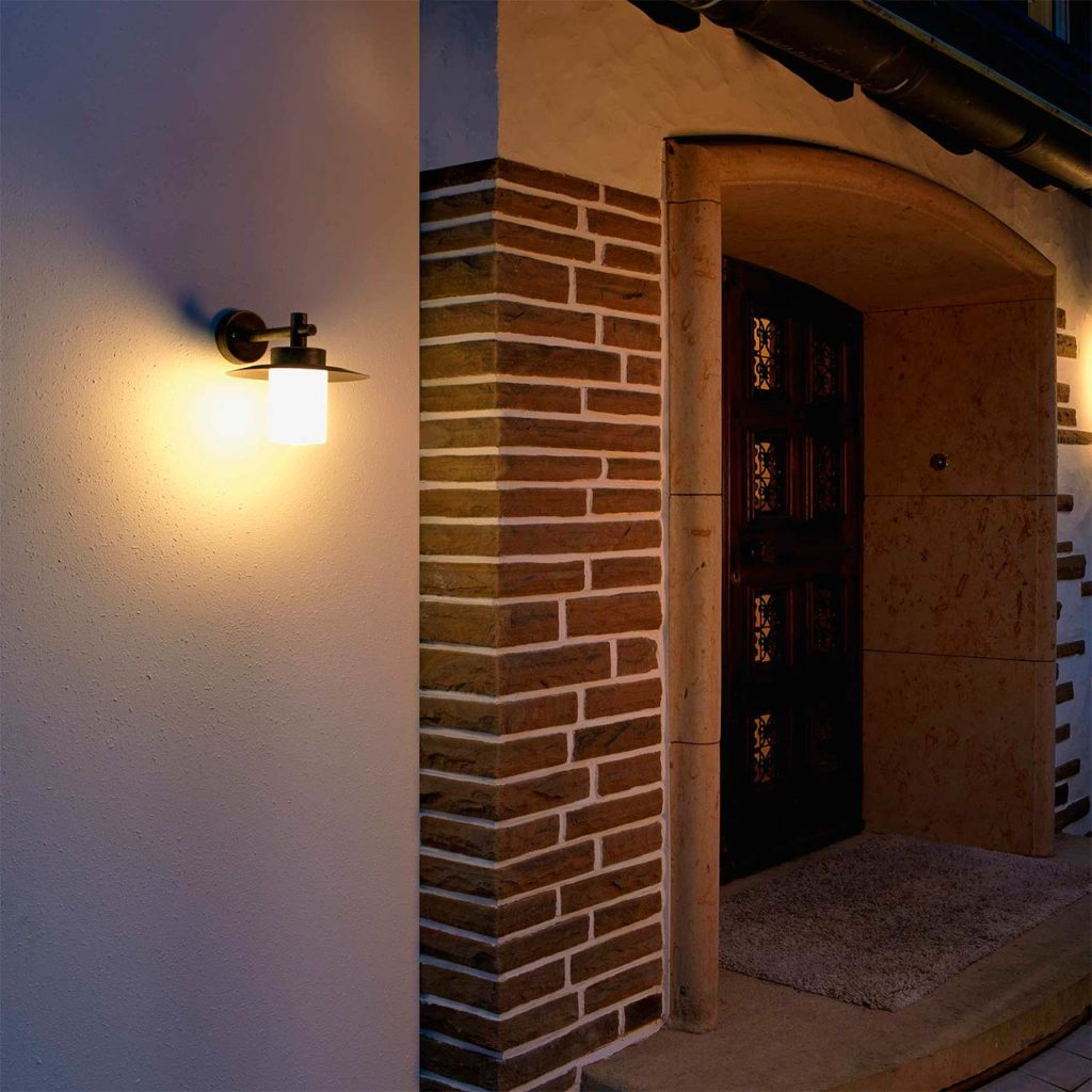 A timeless home entrance light provides light and security at a front door.
